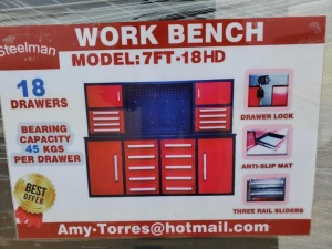 Unused Steelman 7ft Work Bench with 18 Drawers