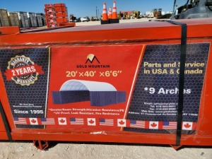 Unused Golden Mountain Dome Container Shelter W20ft x L40ft x 6' 6''