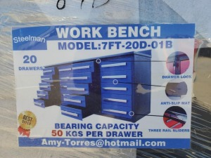 Unused Steelman 7ft Work Bench with 20 Drawers